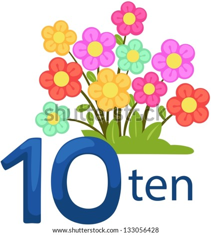 illustration of isolated number 10 character with flowers