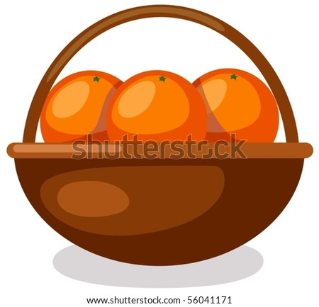 illustration of isolated  oranges in basket on white background