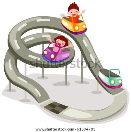 illustration of isolated rollercoaster ride on white background