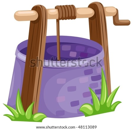 illustration of isolated rustic draw-well on white background