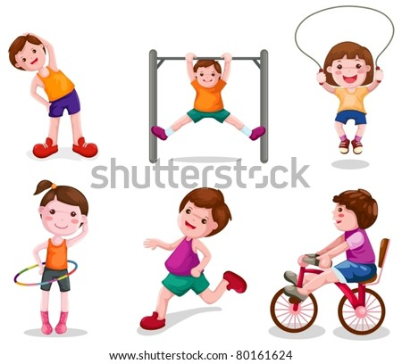 illustration of isolated set of activity kids playing