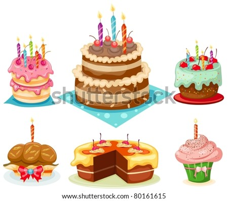 illustration of isolated set of birthday cake on white background