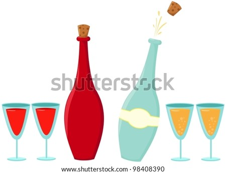 illustration of isolated set of botte of wine and champagne with glass