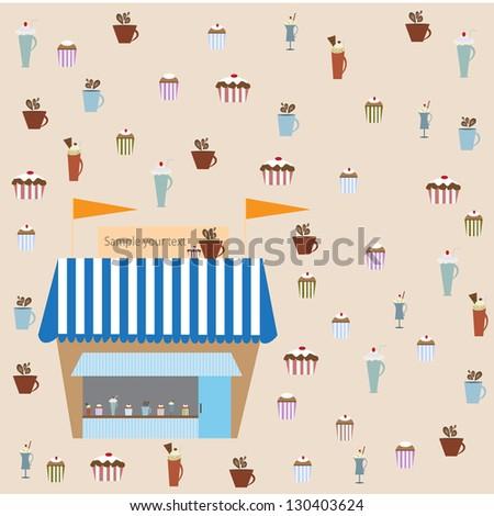 illustration of isolated set of cupcake on white background