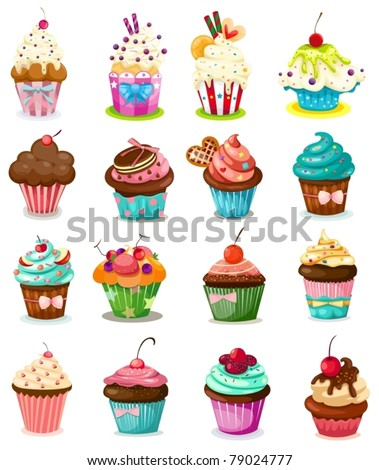 illustration of isolated set of cupcake on white background
