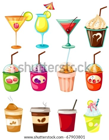 illustration of isolated set of drink on white background