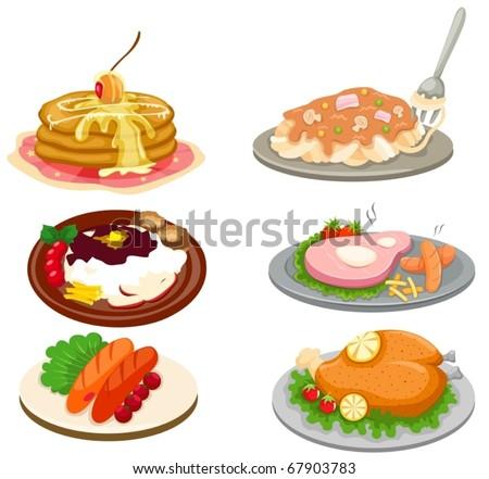 illustration of isolated set of food on white background