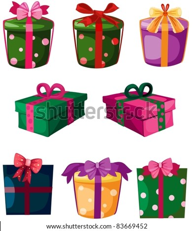 illustration of isolated set of gift box on white background