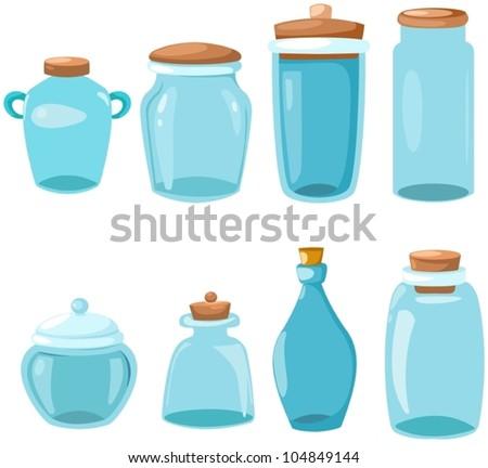 illustration of isolated set of glassware on white
