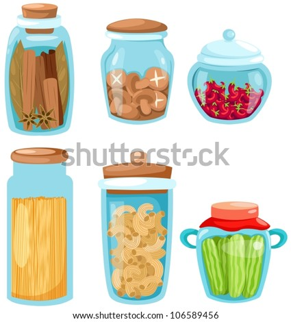 illustration of isolated set of ingredient glassware on white
