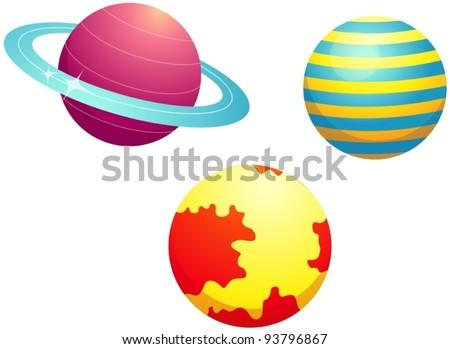 illustration of isolated set of planets on white background