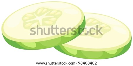 illustration of isolated  slices cucumber on white - stock vector