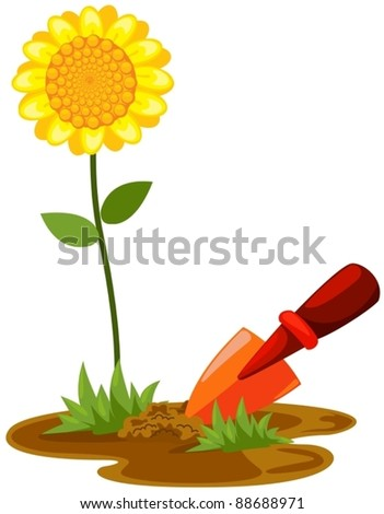 illustration of isolated small shovel with sunflower on white