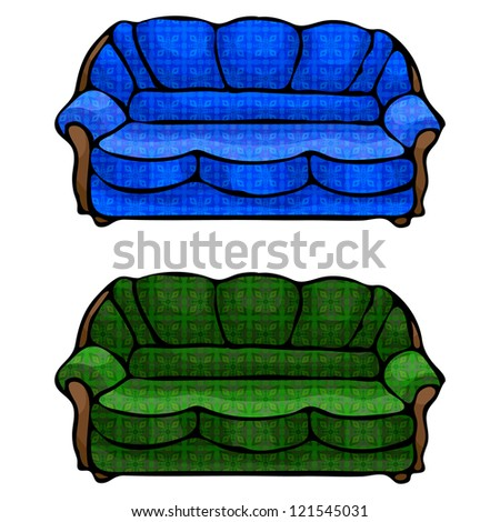 illustration of isolated sofas on white background