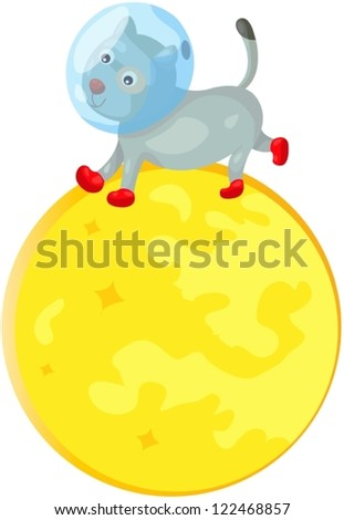 illustration of isolated space dog running on the moon
