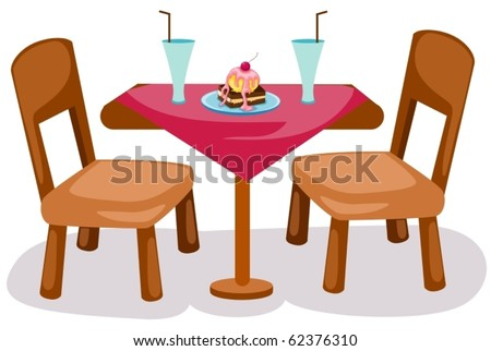 illustration of isolated table and chairs on white background