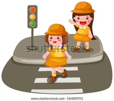 illustration of isolated two girls crossing the street on white