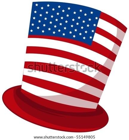 illustration of isolated usa hat on white background