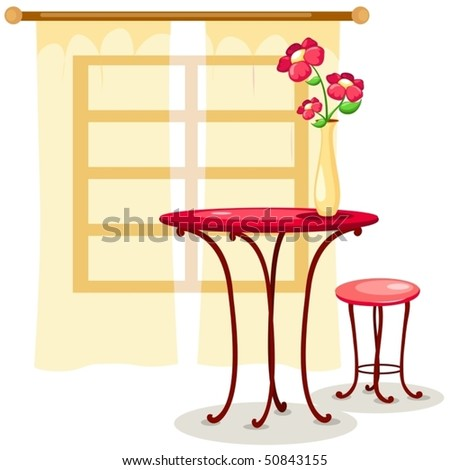 illustration of isolated vase of flowers with table and chair - stock vector