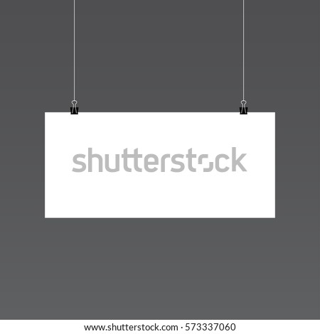 Illustration of Isolated Vector Poster Mockup. Realistic Vector EPS10 Paper Horisontal Poster Isolated on White Background