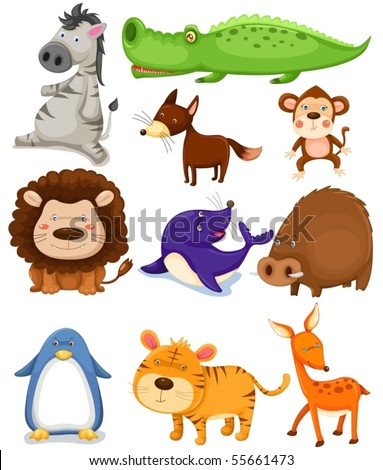 illustration of isolated wild animals on white background