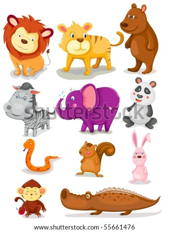 illustration of isolated wild animals set on white background