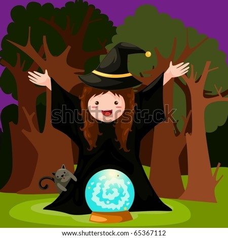 illustration of isolated witch with magic ball
