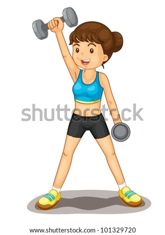 Illustration of isolated woman lifting weights - stock vector