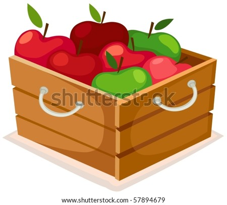 illustration of isolated wooden box of apples - stock vector
