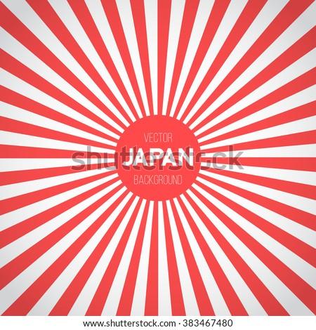 Illustration of Japan Flag Vector Background. Retro Style Japan Flag Sunburst Effect Vector Background