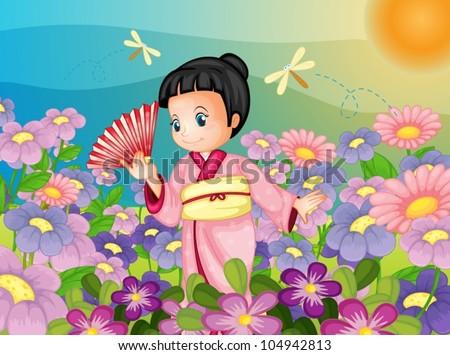 illustration of japanese kid in