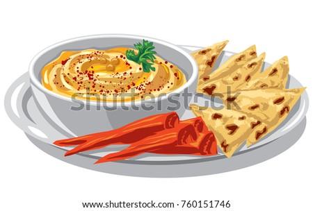 illustration of jewish dish humus with pita on plate