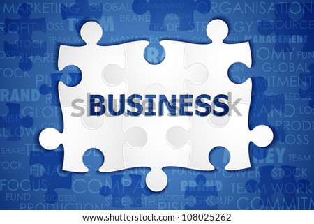 illustration of jigsaw puzzle with business text