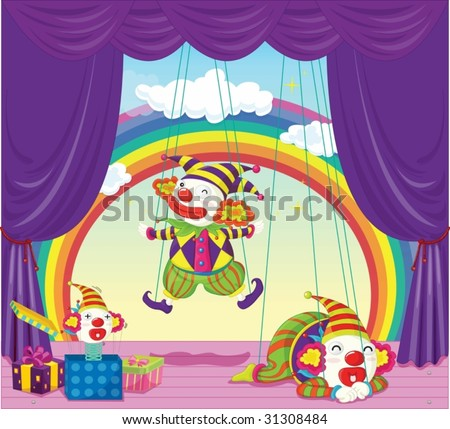 illustration of joker puppets dancing on stage