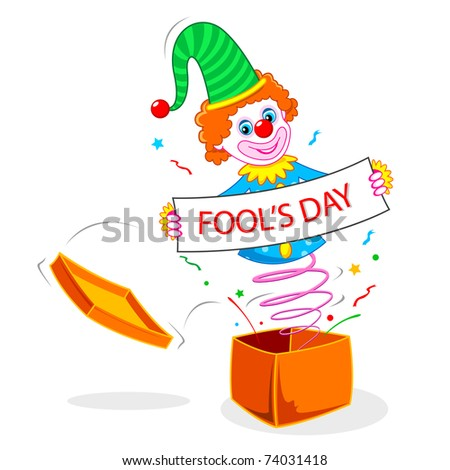 illustration of joker wishing fool's day popping out of gift box
