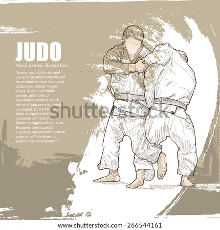 illustration of Judo background. Hand drawn.
