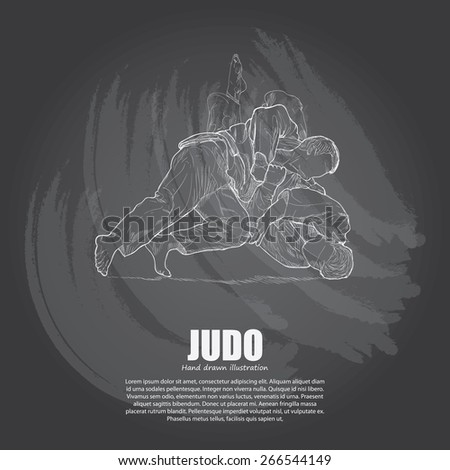 illustration of Judo on chalkboard. Hand drawn.