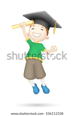 illustration of jumping 3d boy with mortar board