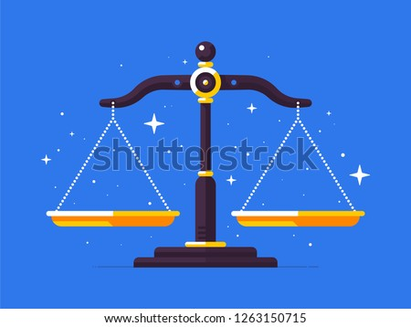 Illustration of justice scales in flat style. Equilibrium icon. Law, balance, economy.