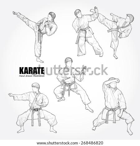 Illustration of Karate. Hand drawn.
