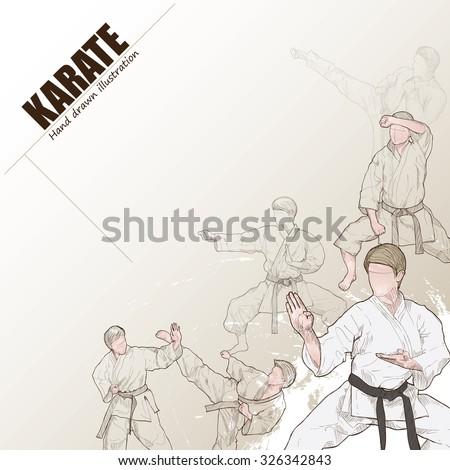 Illustration of karate. hand drawn. karate poster. Sport background.