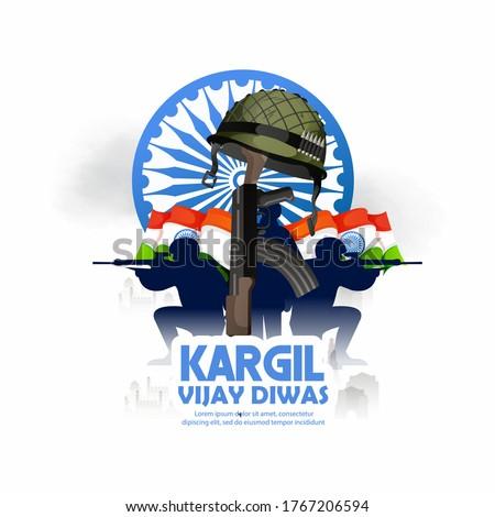 illustration of Kargil Vijay Diwas, banner or poster, silhouette