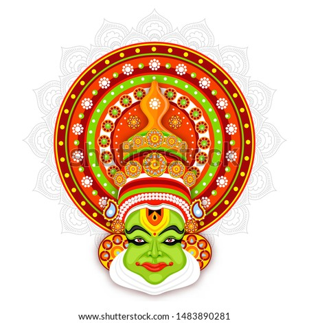 Illustration of Kathakali dancer face on mandala pattern background.