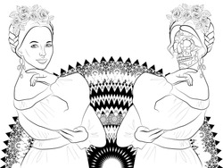 illustration of Katrina Calavera, symbol of the Mexican traditional holiday Day of the dead and day of angels