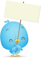 Illustration of Kawaii Blue Bird holding blank sign