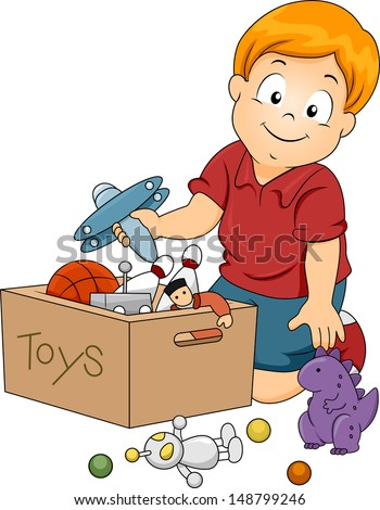 Kids Picking Up Toys Clip Art Illustration of kid boy