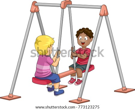 illustration of kid boys riding