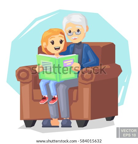 Illustration of kid granddaughter listening their grandfather reading a book story cartoon vector illustration eps10.