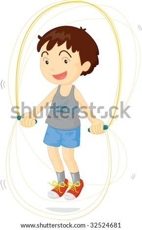 illustration of kid playing with skipping rope
