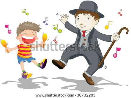illustration of kid with dancing charlie